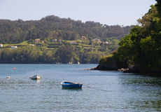 Coastal landscape with boats Royalty Free Stock Photo