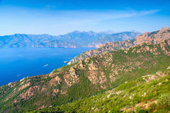 Coastal landscape of Corsica with rocks Royalty Free Stock Photography