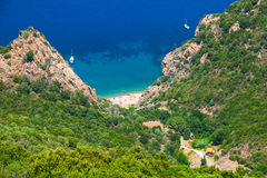 Coastal landscape of Corsica. Small wild beach Stock Images