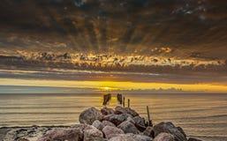 Coastal landscape at dawn, Baltic Sea, Europe Royalty Free Stock Image
