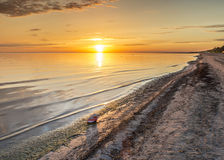 Coastal landscape at dawn. The photo was taken on sandy beach of the Baltic Sea, Jurmala, Latvia Stock Image