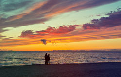 Coastal landscape at dawn. The photo was taken on sandy beach of the Baltic Sea, Jurmala, Latvia Royalty Free Stock Image
