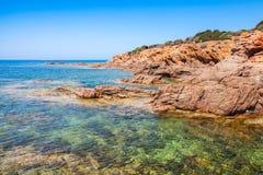 Coastal landscape with empty rocky wild beach Royalty Free Stock Photos