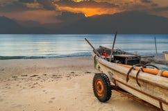 Coastal landscape with fishing boat Royalty Free Stock Image