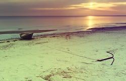 Coastal landscape with fishing boat Royalty Free Stock Photography