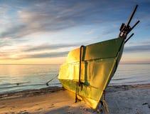 Coastal landscape with fishing boat Royalty Free Stock Photos