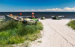 Coastal landscape with fishing boats Royalty Free Stock Photo