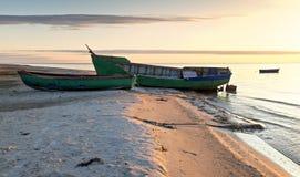 Coastal landscape with fishing boats Royalty Free Stock Photography