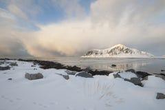 Coastal landscape on Flakstadoya island Loftofen Norway Royalty Free Stock Photo