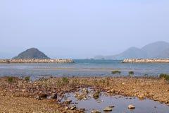 Coastal landscape in Hong Kong. The coastal landscape along seashore in Hong Kong, another angle of HK Stock Images