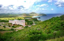 Coastal landscape, hotel and village on the beach stock images