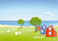 Coastal landscape with houses Stock Image