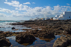 Coastal landscape from Lanzarote island, Spain. Royalty Free Stock Photos