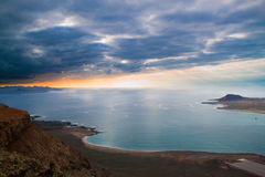 Coastal landscape from Lanzarote island, Spain. Royalty Free Stock Images