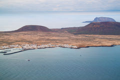 Coastal landscape from Lanzarote island, Spain. Royalty Free Stock Photo