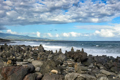 Coastal landscape with lava rocks, la Reunion Royalty Free Stock Photo