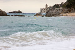 Coastal landscape of Lloret de Mar. Lloret de Mar has excellent sandy beaches grainy stock photo