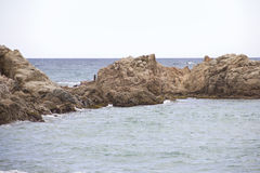 Coastal landscape of Lloret de Mar. Lloret de Mar has excellent sandy beaches grainy Stock Images