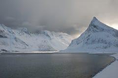 Coastal landscape on Moskensoy in the Loftofen archipelago Norway Royalty Free Stock Photography