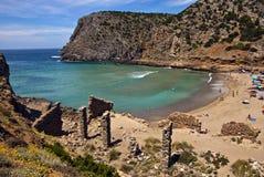 A coastal landscape with mountain, a beach, a wonderful sea. A coastal landscape with mountain, a beach, a blue sea stock photo