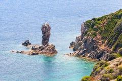 Coastal landscape of mountainous island Corsica Royalty Free Stock Images