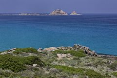 Coastal landscape near Ile Rousse at the northern coast of Corsica, France Royalty Free Stock Photography