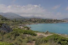 Coastal landscape near Ile Rousse at the northern coast of Corsica, France Stock Photography