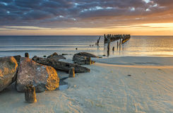 Coastal landscape with old broken pier, Baltic Sea Stock Photography