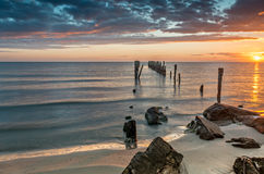 Coastal landscape with old broken pier, Baltic Sea Royalty Free Stock Photos
