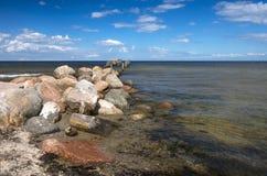 Coastal landscape with old broken pier Royalty Free Stock Photo