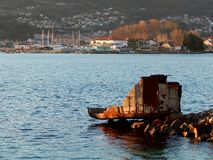 seascape landscape with part of old ship royalty free stock images