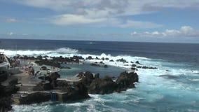 Coast of Porto Moniz on Madeira. Coastal landscape of Porto Moniz on Madeira stock footage