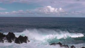 Coast of Porto Moniz on Madeira. Coastal landscape of Porto Moniz on Madeira stock video