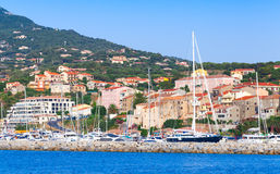 Coastal landscape of Propriano resort town. South region of Corsica island, France Royalty Free Stock Photo
