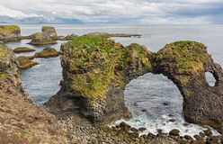 Coastal landscape with rock formations in Iceland. Stock Image