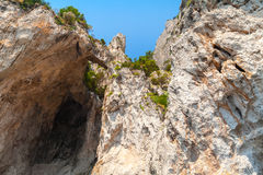 Coastal landscape with rocks and cave. Capri Stock Photo