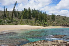 Coastal landscape sandy beach New Caledonia stock photos