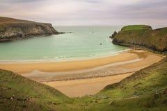 Landscape. Silver strand. Malin Beg. county Donegal. Ireland. Coastal landscape and silver strand. Malin Beg. near Glencolumbkille. county Donegal. Ireland Stock Image