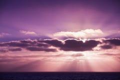 Coastal landscape with sun beams Stock Photography