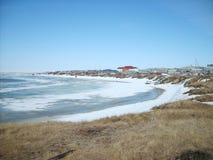 Coastal landscape of the tundra settlement Stock Image