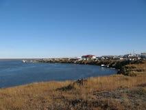 Coastal landscape of the tundra settlement Royalty Free Stock Image