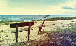 Coastal landscape with wooden settee, Baltic Sea Stock Photos