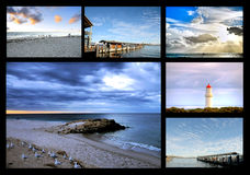 Coastal landscapes collage. Beautiful Australian coastline landscapes collage Stock Photos