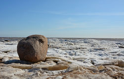 Coastal line with ice and sea Stock Images
