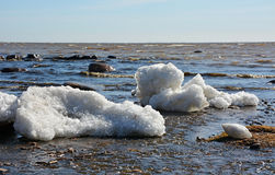 Coastal line with ice and sea Royalty Free Stock Image