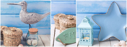 Coastal living theme site header. Collage from photos with ocean, sea  or coastal living decorations. Decorative wooden bird,  plate in form of star, bottle Royalty Free Stock Image