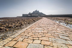 Coastal location around st michaels mount in cornwall england uk. Lookout post in Marizion harbour. White castlated  building next Royalty Free Stock Image