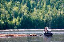 Coastal Logging. A logging boat on the coast Stock Photo