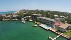 Coastal marina in Florida aerial view stock video footage