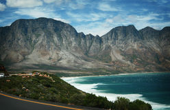 Coastal Mountain. Mountains meeting the coast, on the Southern Coast of Africa, meeting the Indian Ocean Royalty Free Stock Photo